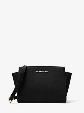 Michael Kors Selma Medium Saffiano Leather Messenger - BLACK - STYLE