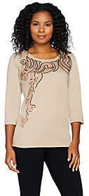 Bob Mackie Bob Mackie's Embroidered Pull-Over Knit Topwith Sequins