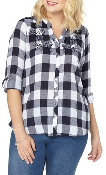 Evans Plus Size Women's Gingham Embroidered Shirt