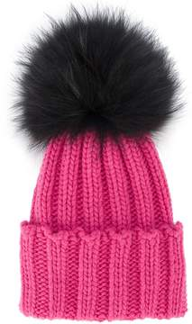 Inverni Pink Ribbed Cashmere Hat with Fur Pom Pom