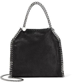 Stella McCartney - The Falabella Tiny Faux Brushed-leather Shoulder Bag - Black
