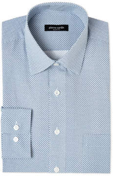 Pierre Cardin Blue & White Printed Slim Fit Pocket Dress Shirt