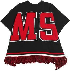 MSGM Logo Intarsia Wool Blend Knit Cape