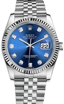 Rolex Datejust Stainless Steel Fluted Bezel & Blue Diamond Dial on Jubilee Bracelet Watch
