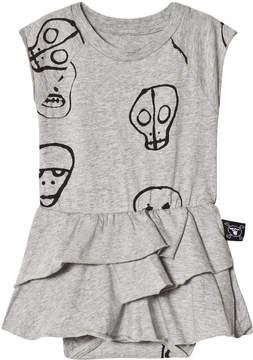 Nununu Grey Skull Mask Skirt Onesie