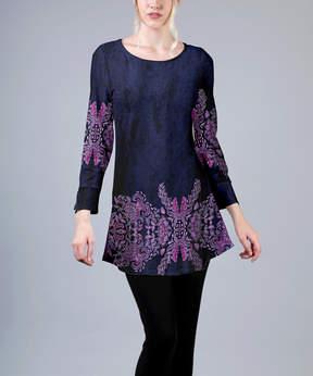 Azalea Purple & Pink Damask Tunic - Plus