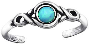 Celtic Teal Opal & Silver-Plated Scroll Adjustable Toe Ring