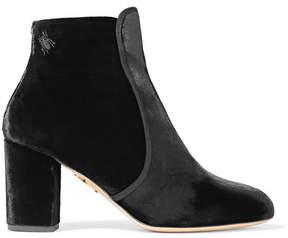 Charlotte Olympia Alba Embellished Velvet Ankle Boots - Black