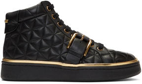 Balmain Black Quilted Active Buckle High-Top Sneakers