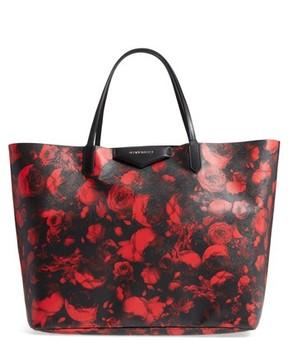 Givenchy Antigona Rose Print Coated Canvas Shopper - Red