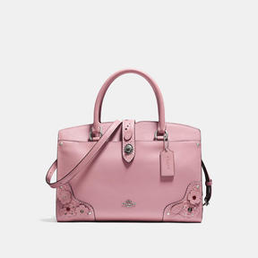 COACH MERCER SATCHEL 30 IN GLOVETANNED LEATHER WITH TEA ROSE AND TOOLING - LIGHT ANTIQUE NICKEL/DUSTY ROSE