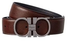 Salvatore Ferragamo Double Gancio Buckle Reversible Leather Belt.
