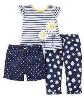 Little Me Baby Girl's Three-Piece Daisy Pajama Set