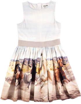 Molo Carli Wild Horses Sleeveless Poplin Dress, Size 2T-12