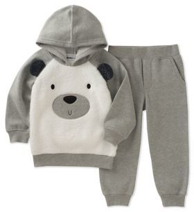 Kids Headquarters Little Boy's Two-Piece Graphic Faux-Fur Trimmed Hoodie and Heathered Jogger Pants Set