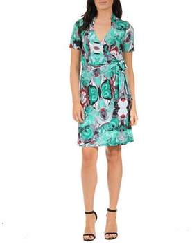 24/7 Comfort Apparel Women's Teal Abstract Mosaic Wrap Dress
