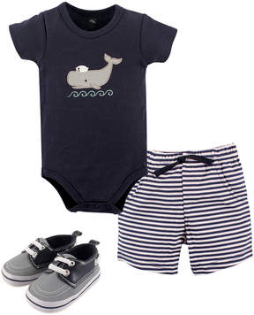 Hudson Baby Navy Whale Bodysuit & Stripe Shorts Set - Newborn & Infant