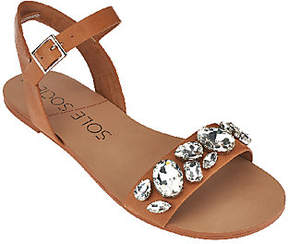 Sole Society Leather Quarter Strap Sandals - Gemma
