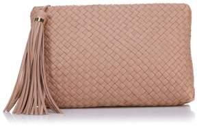 Sam Edelman Gayla Woven Leather Clutch with Crossbody Strap