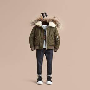 Burberry Detachable Raccoon Fur Trim Hood Bomber Jacket