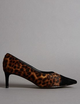 Marks and Spencer Leather Kitten Heel V-Cut Court Shoes