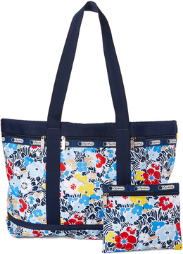 Le Sport Sac Navy Ocean Blooms Travel Tote & Pouch