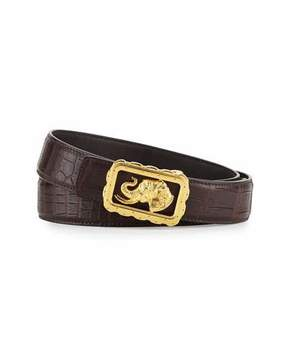 Stefano Ricci Crocodile Belt with Golden Elephant Buckle, Brown