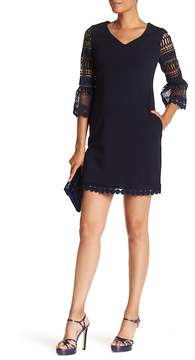 Donna Ricco Crochet Crepe Scuba Dress