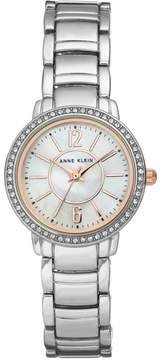 Anne Klein Silvertone Crystal-Accented Mother-of-Pearl Dial Bracelet Watch with Rosetone Accents