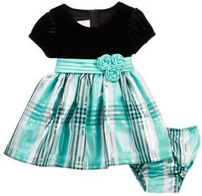Iris & Ivy Pleated Sash Velvet & Plaid Taffeta Dress (Baby Girls 12-24M)