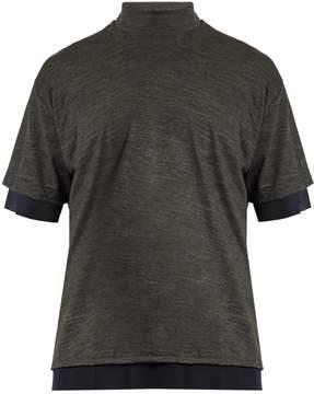 Kolor Tulle-underlayer high-neck jersey T-shirt