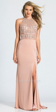 Dave and Johnny Crystal Embellished Keyhole Open Back Sweep Train Prom Dress