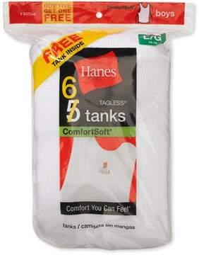 Hanes Boy's Tagless Tank Shirts, 5 + 1 Bonus Pack