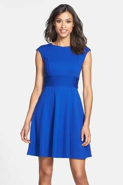 Eliza J Pintucked Waist Seamed Ponte Knit Fit & Flare Dress