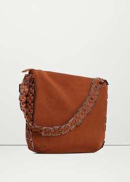 MANGO OUTLET Appliqué leather bag