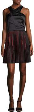 Armani Exchange Women's Pleated Skirt A-Line Dress
