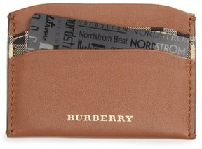 Burberry Izzy Check & Leather Card Case - Brown - BROWN - STYLE