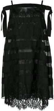 Ermanno Scervino lace and stripe sheer layered dress