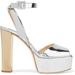 Giuseppe Zanotti Mirrored-leather Platform Sandals - Silver