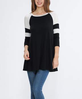 Celeste Black & Ivory Stripe-Sleeve Tunic - Women