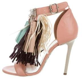 MSGM Feather-Trimmed Ankle Strap Sandals