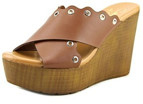 Callisto Darcii Women Open Toe Leather Brown Wedge Heel.