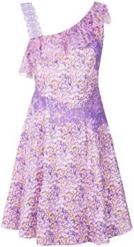 Blumarine floral print lace trim dress