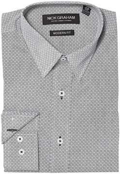 Nick Graham Square Hole Print Stretch Shirt Men's Clothing