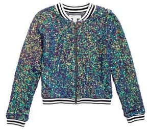 Treasure & Bond Girl's Sequin Bomber Jacket