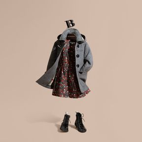 Burberry Wool Duffle Coat with Check-lined Hood