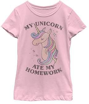 Fifth Sun Pink 'My Unicorn Ate My Homework' Tee - Girls