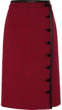 Altuzarra Christofor Silk Satin-trimmed Houndstooth Wool Skirt - Crimson