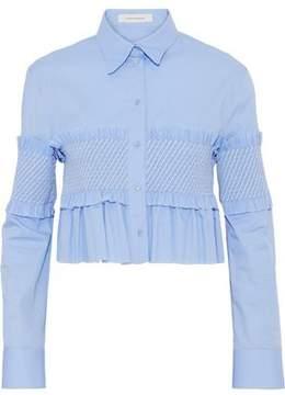 Cédric Charlier Ruffle-Trimmed Shirred Cotton-Poplin Top