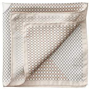 Aspinal of London Savile Row Silk Twill Pocket Square In Champagne Silver